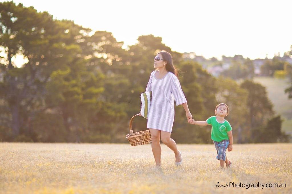 Sunset toddler photoshoot in Melbourne Park