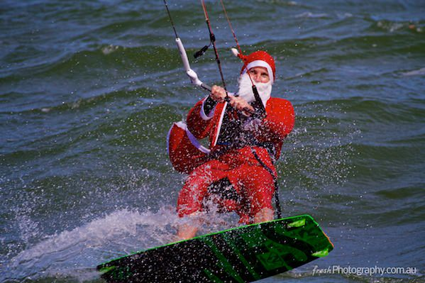 Santa Claus goes Kitesurfing in Melbourne