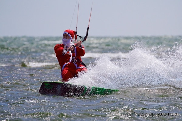 Kitesurfing with Santa