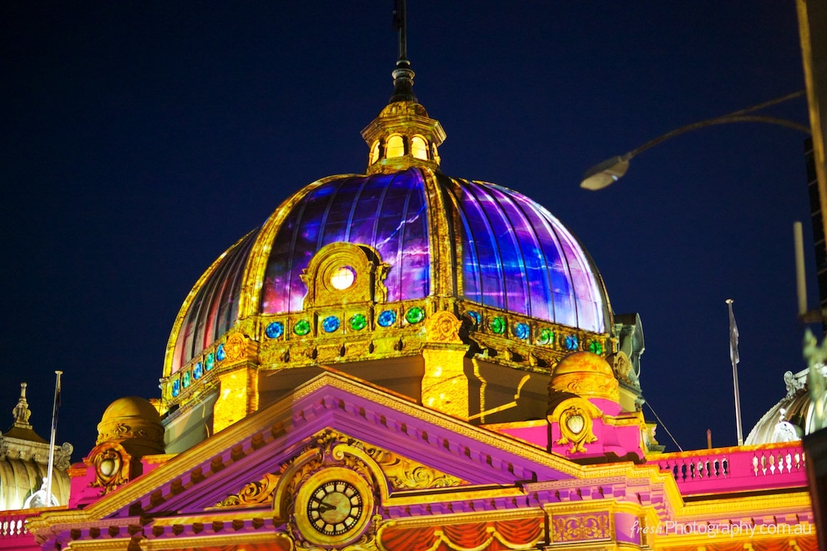 Light Show at Melbourne White Night at Flinders Street Station - Music - Concerts and Fun
