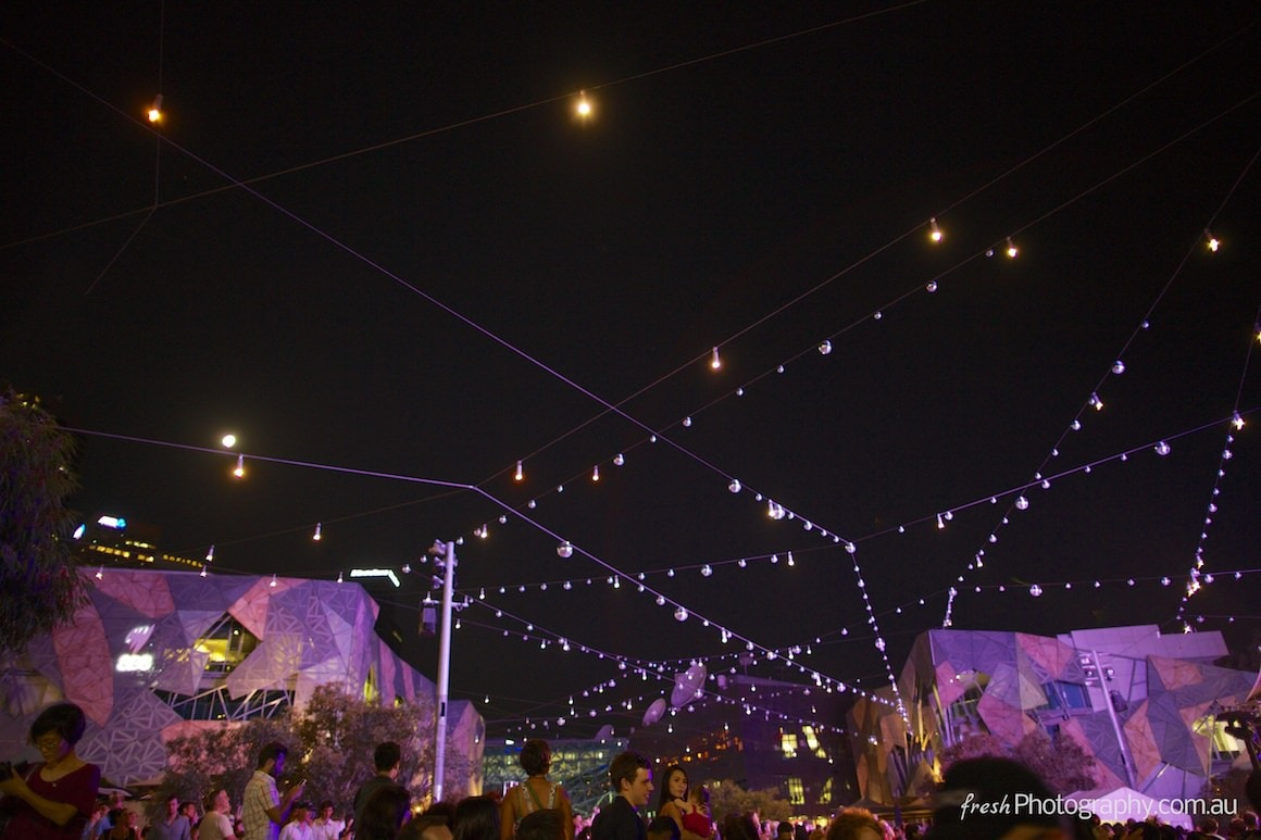 Federation square covered in 100 Mirrorballs