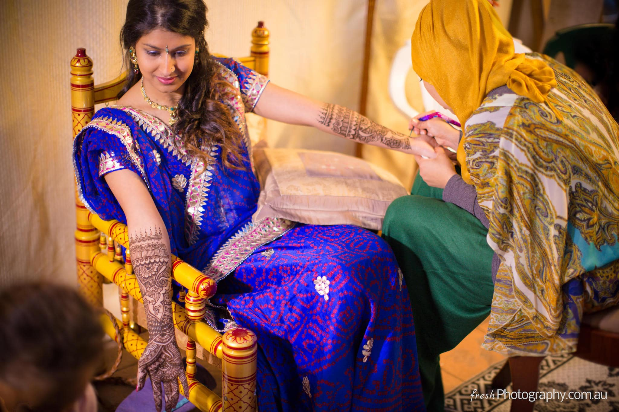 Henna painting - Indian wedding preparation - Photojournalism Melbourne