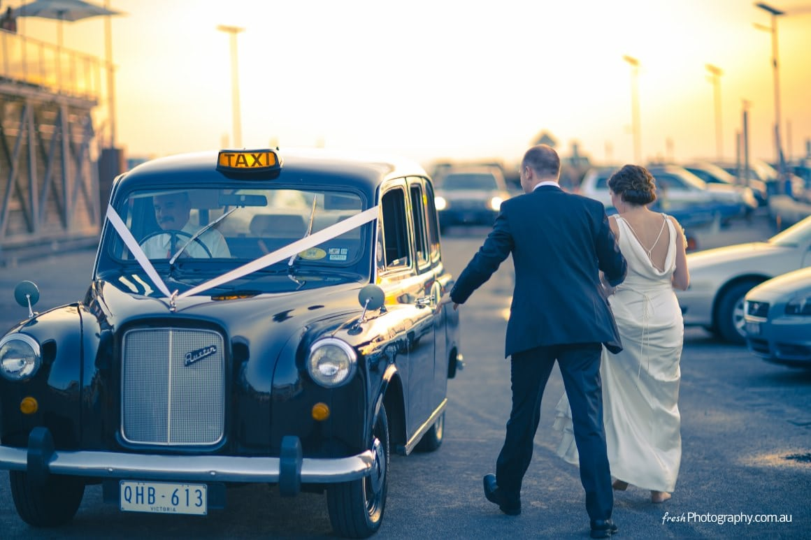 Sunset - getting to the wedding reception - Limo: London Cab