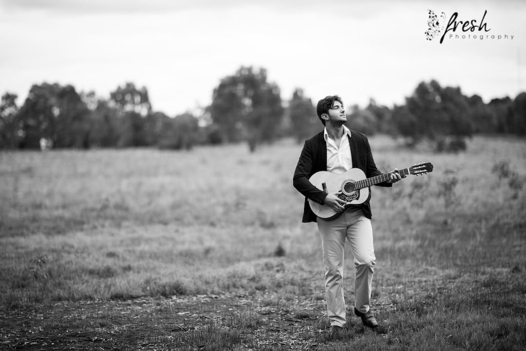 guitar in the fields