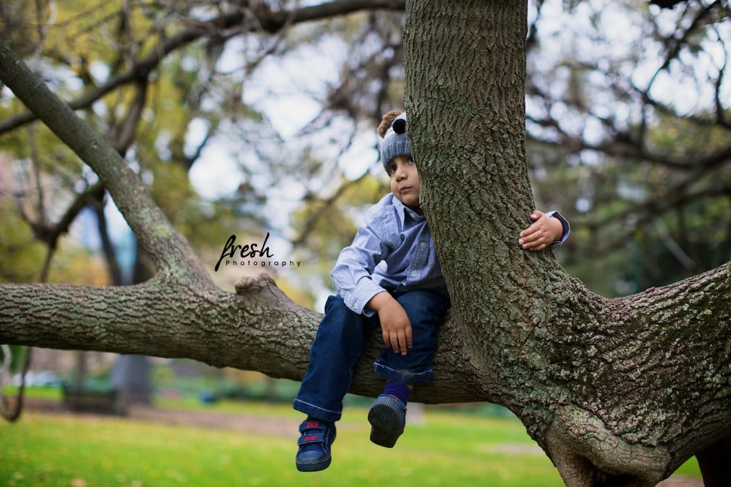 relaxing in the tree - kids photography