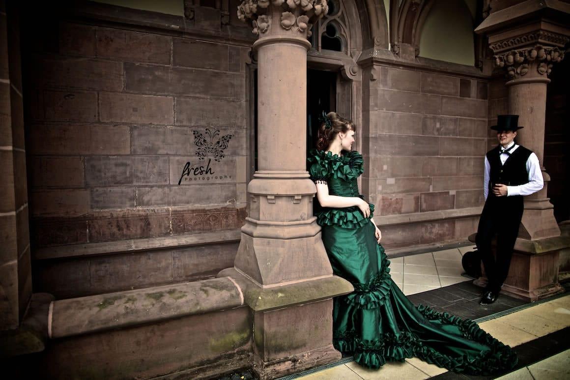 castle - victorian style wedding - green wedding dress