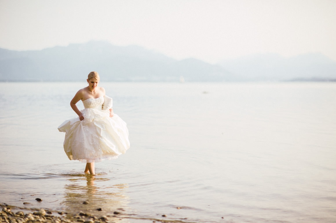 bride in lake