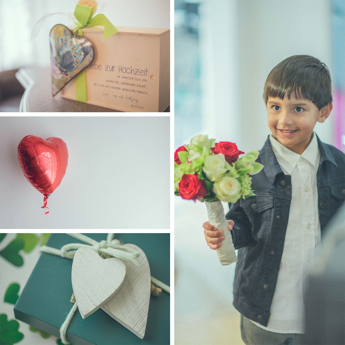 hearts and page boy at international wedding - photography