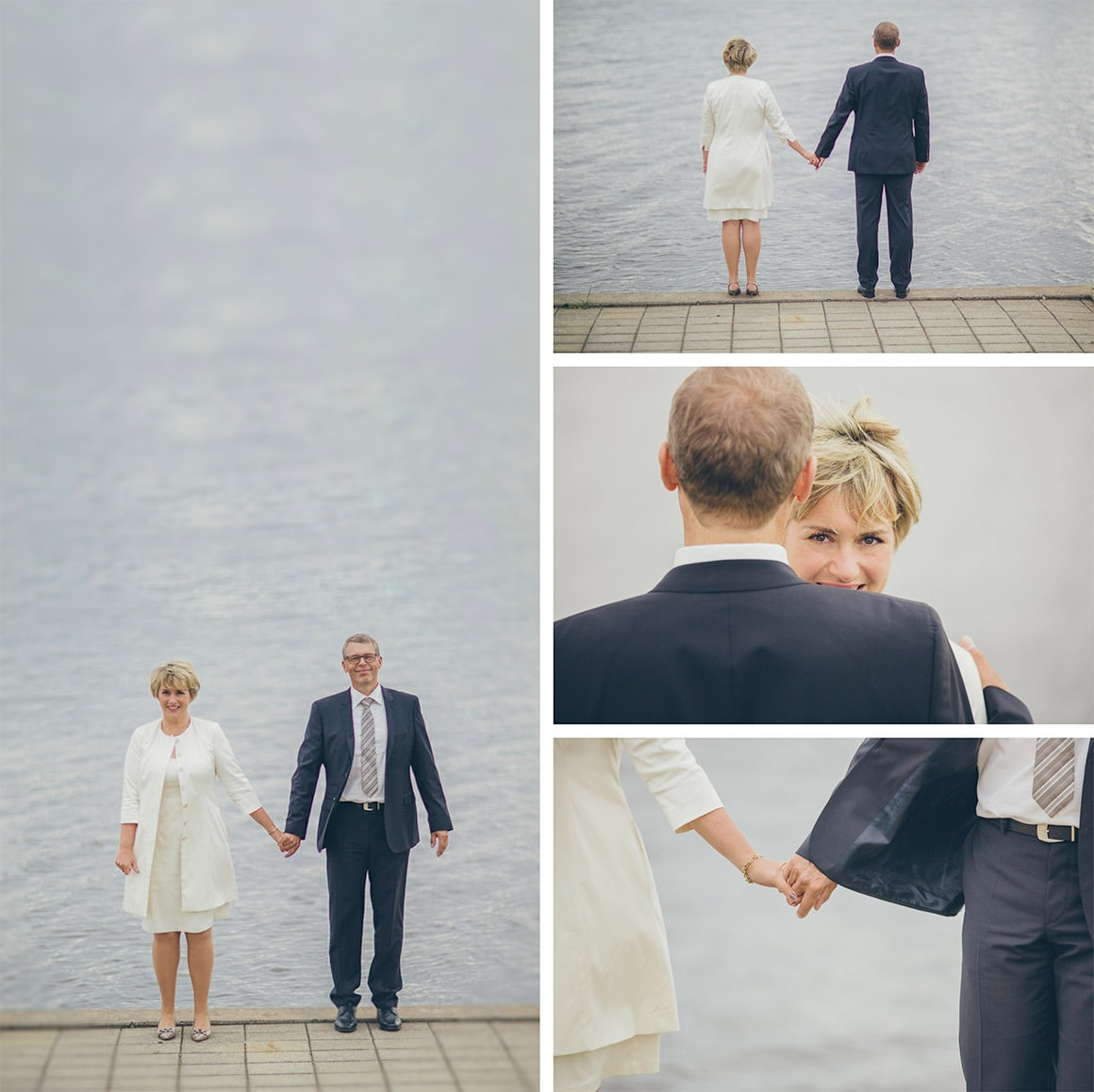 lake wedding photography on a windy and cloudy day