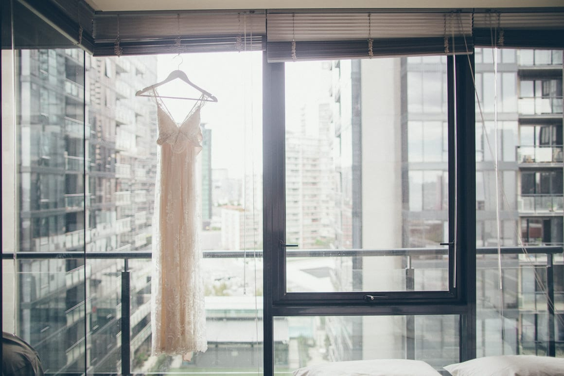 wedding dress in high rise building - southbank melbourne