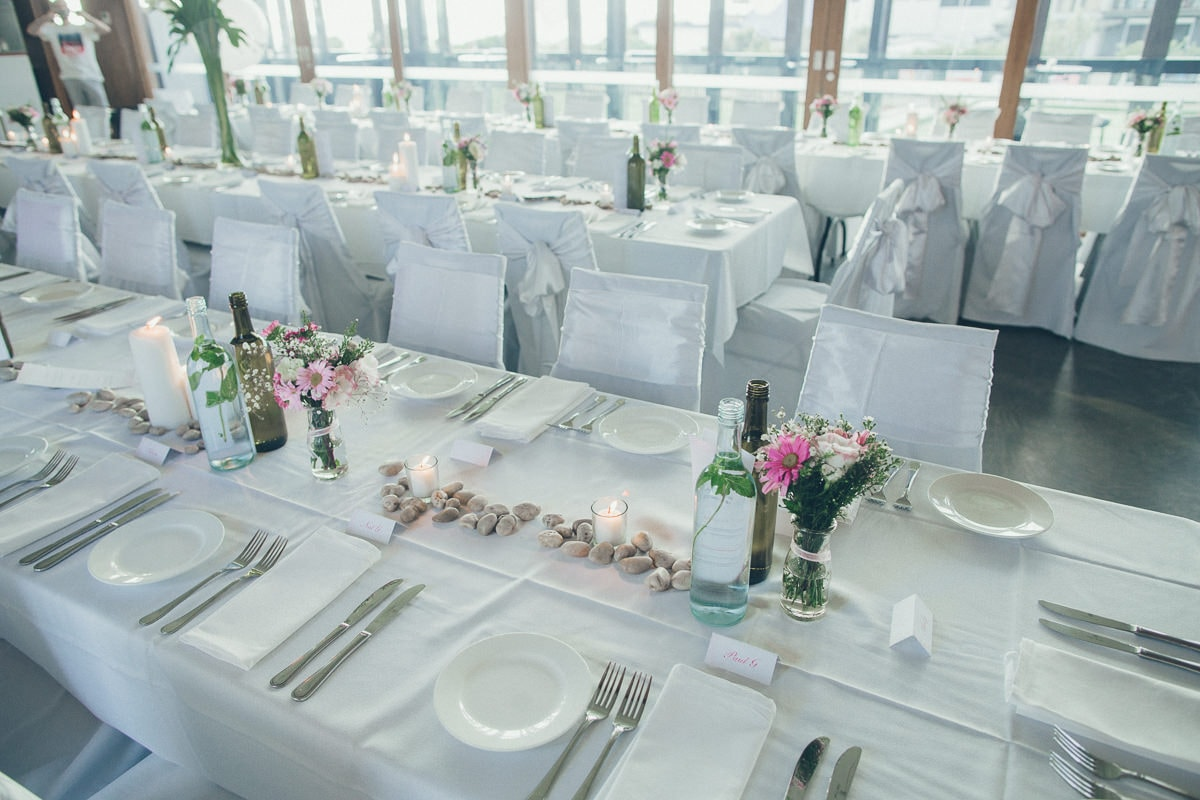 table setting at stylish beach wedding