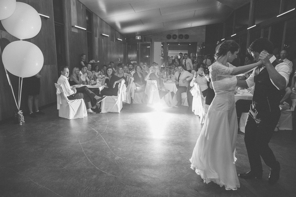 first dance - backlit photo - french - australian couple getting married in carom downs bowling club - photography by fresh photography in melbourne