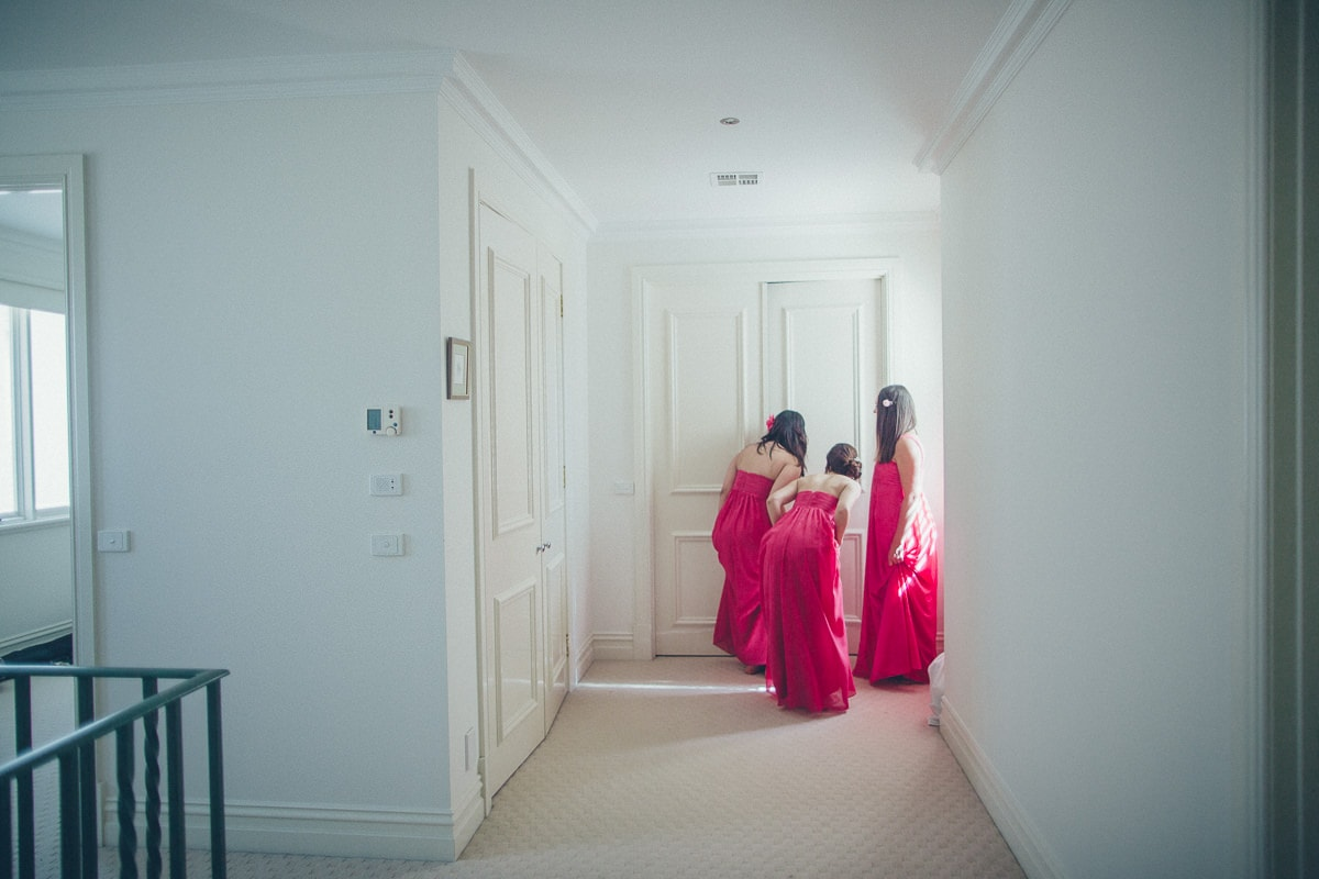 bridesmaids at melbourne wedding - getting ready in luxury house