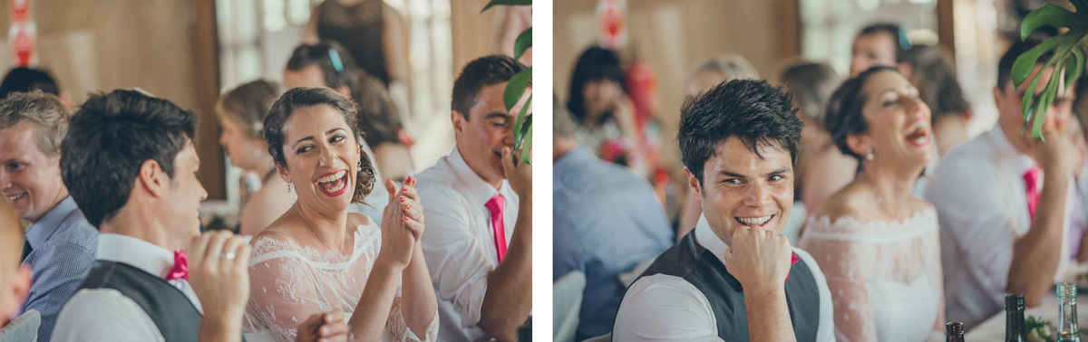 reaction of bride and groom at wedding at species - wedding photographer in melbourne