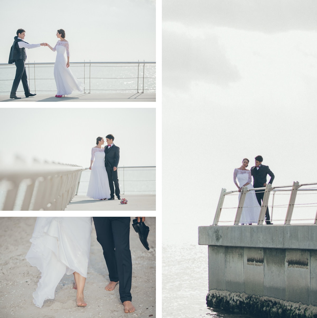 wedding photos on pier in melbourne
