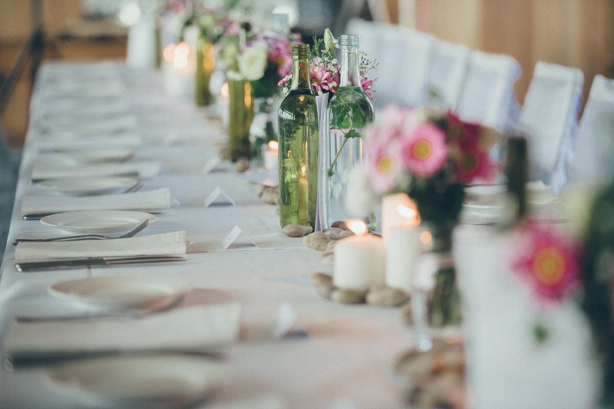 table setting at beach club