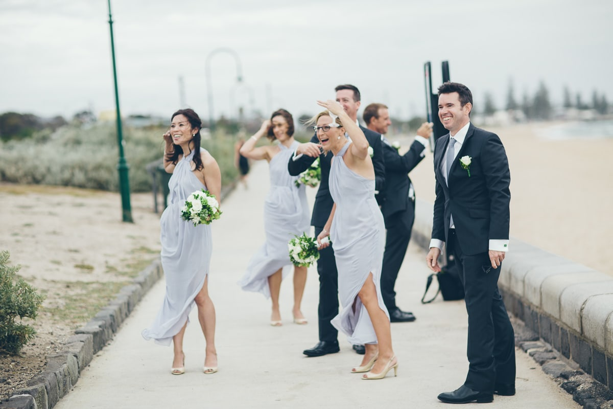 bridal team - windy beach wedding - elwood photographer