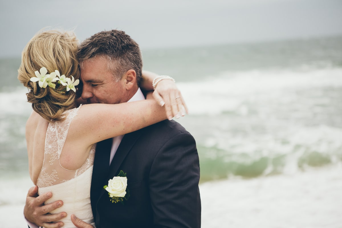 cuddle up - wedding couple on beach - too cold
