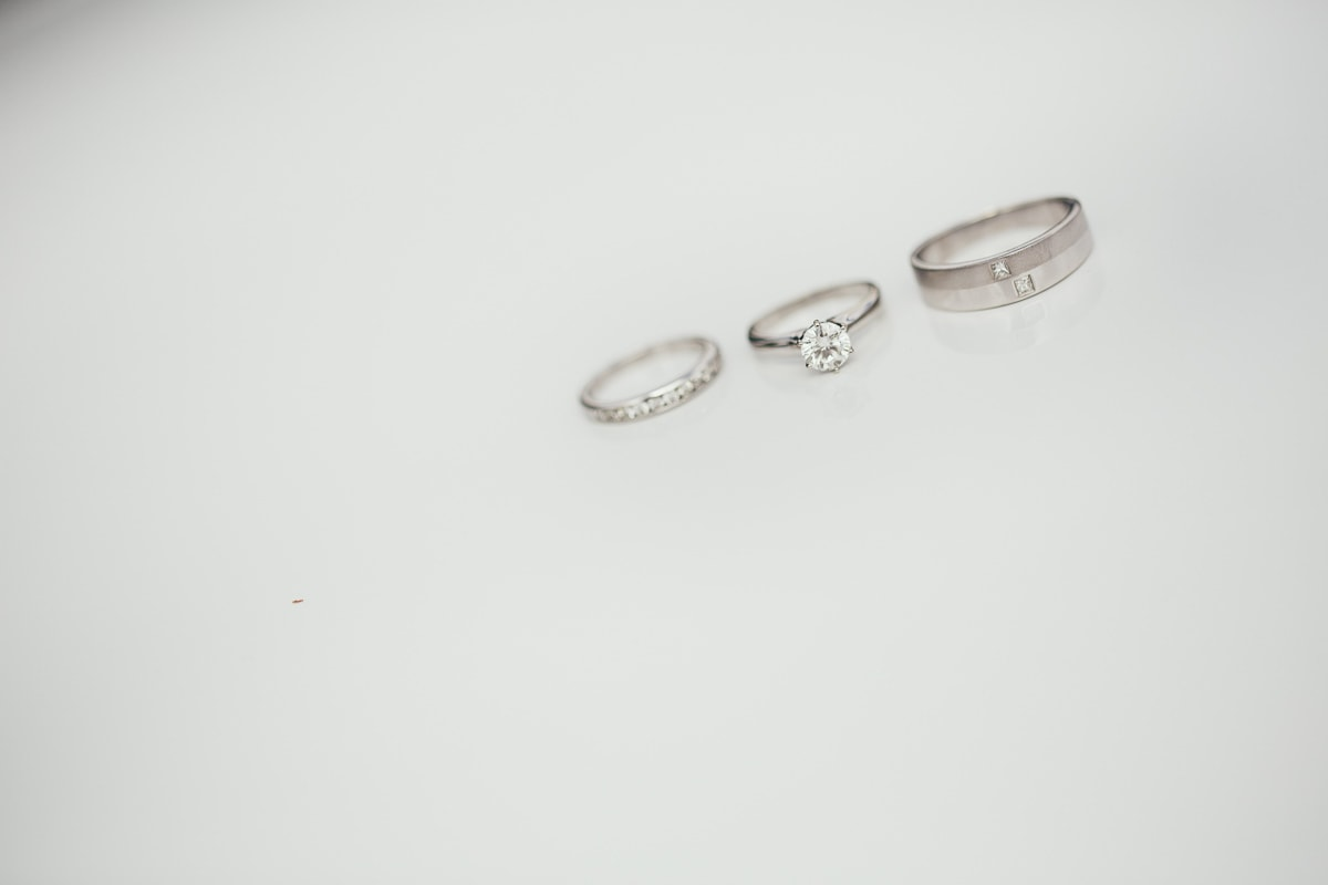wedding rings - on white