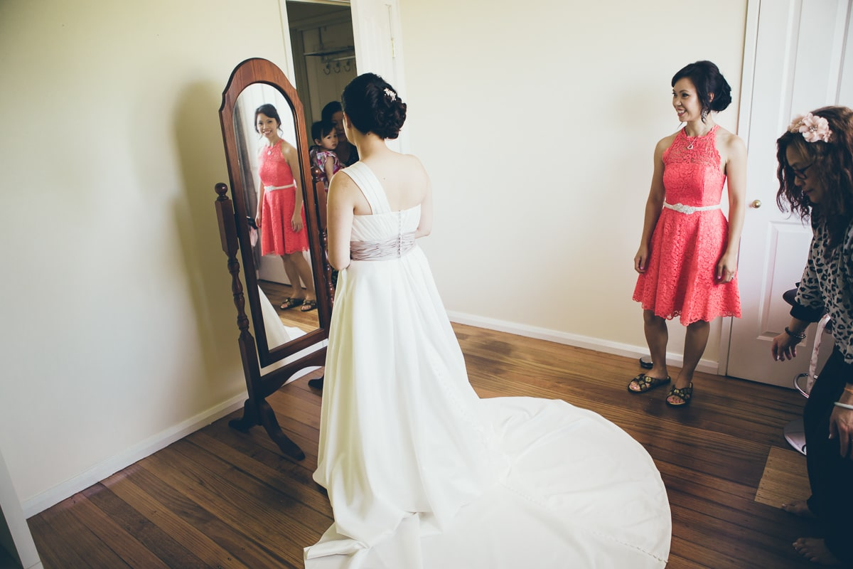 asian bride in wedding dress - mirror