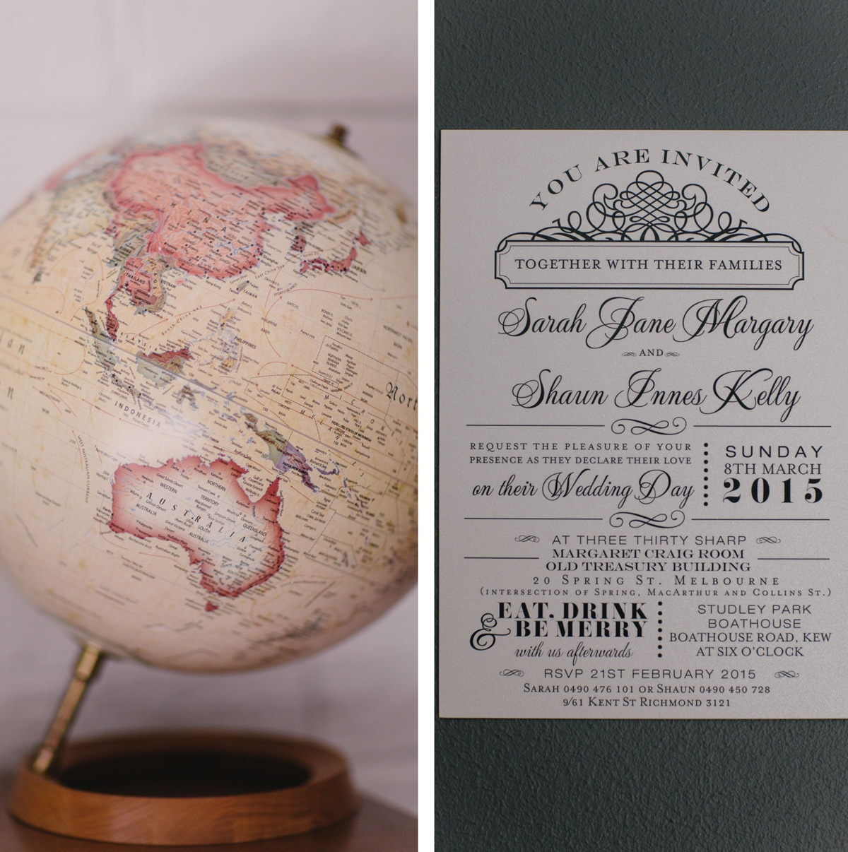 australia on globe and vintage wedding invite