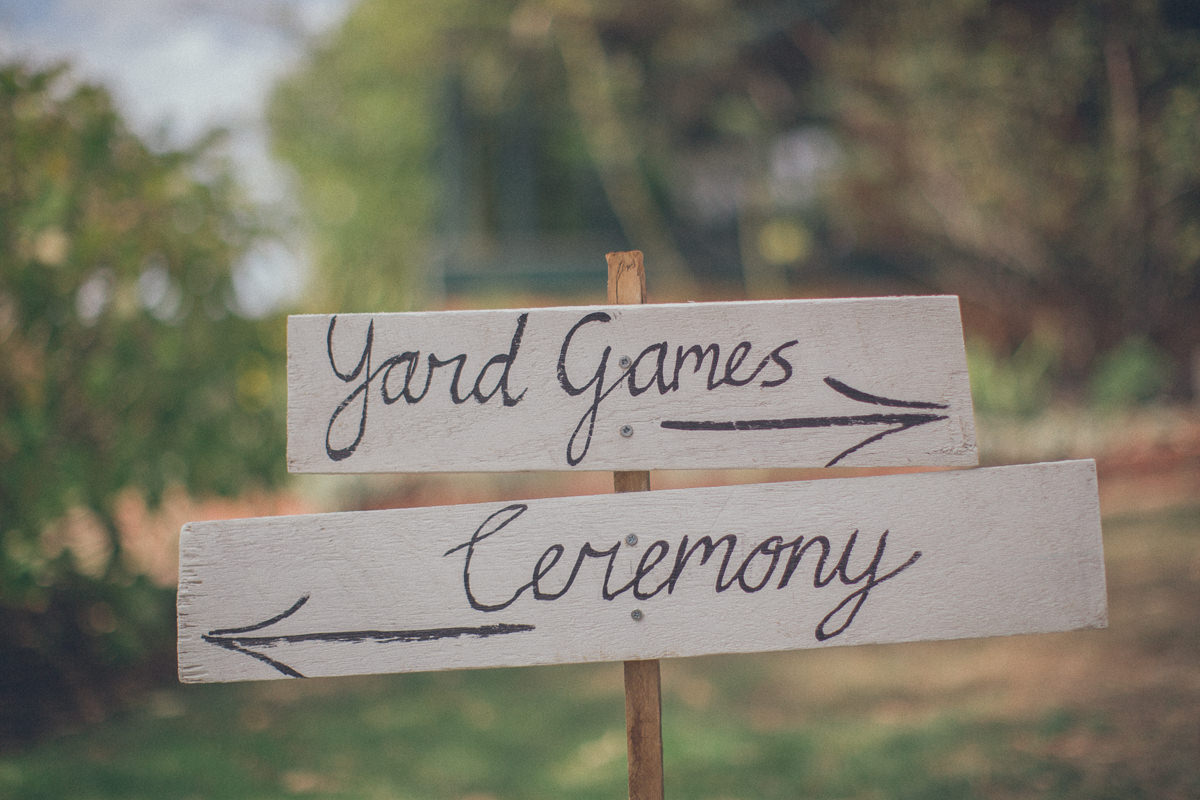 yard games - ceremony signage for barn wedding
