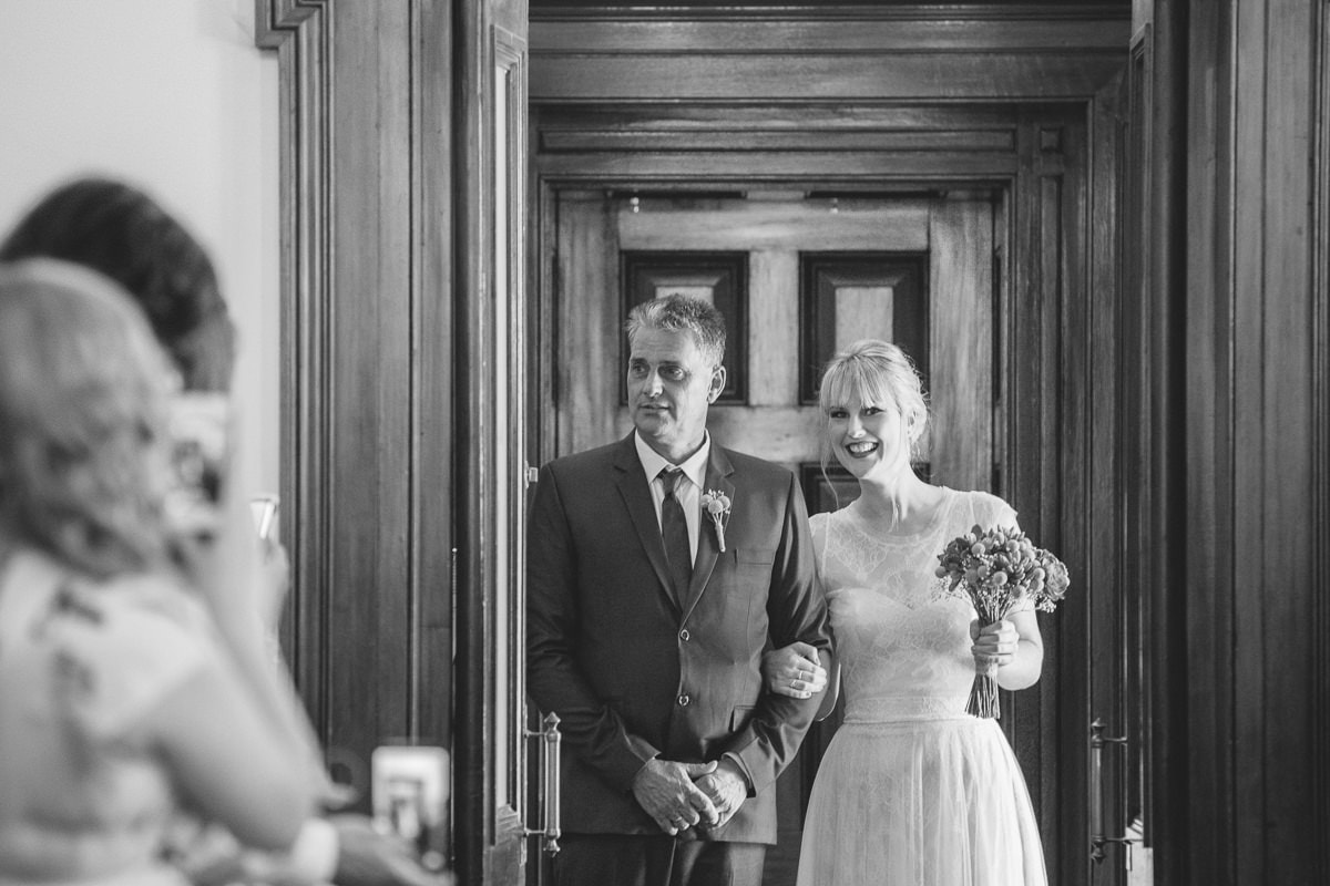 black and white film photographer melbourne cud - bride and dad