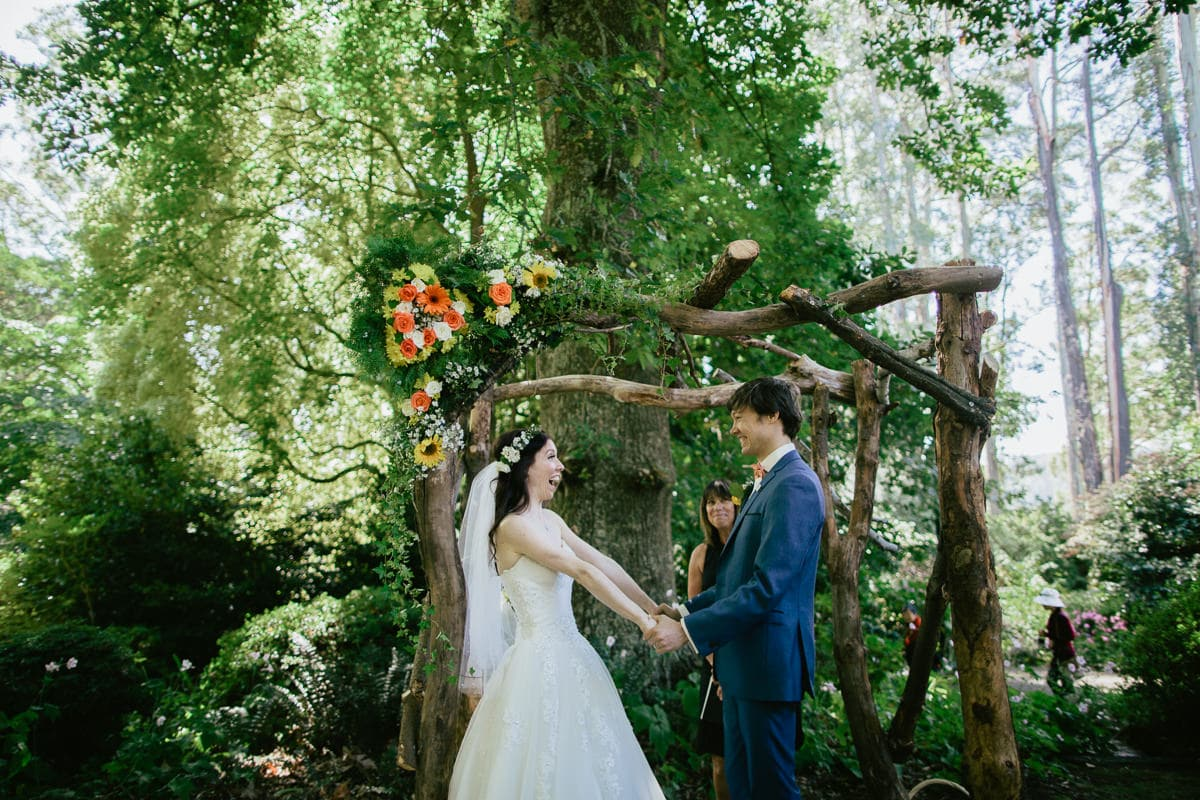 ceremony at george tingle gardens near dandenongs in melbourne - a outdoor forest wedding