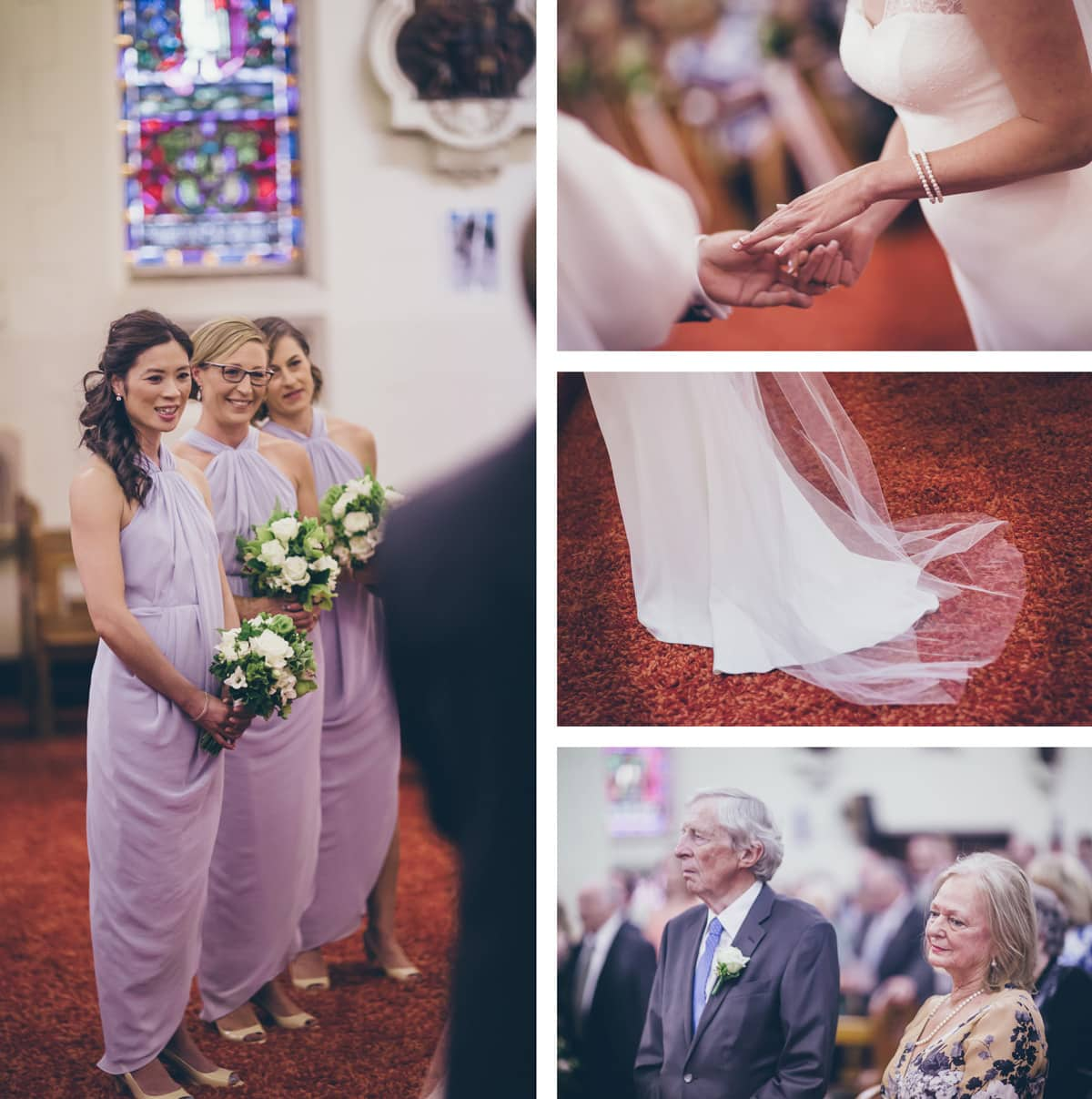 bridal team - bridesmaids at st colombas church in elwood - wedding photographer in elwood