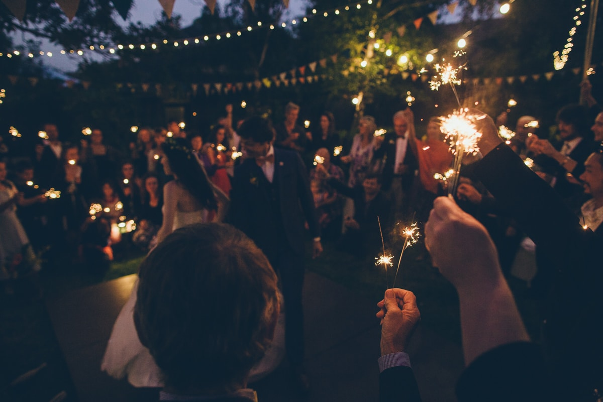 courtyard wedding party - sparklers - first dance