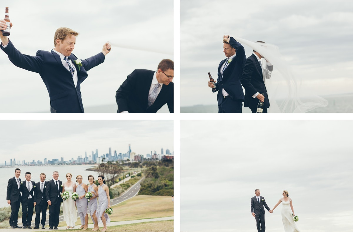 point ormond - windy wedding photography in elwood - best elwood wedding photographer fun and creative
