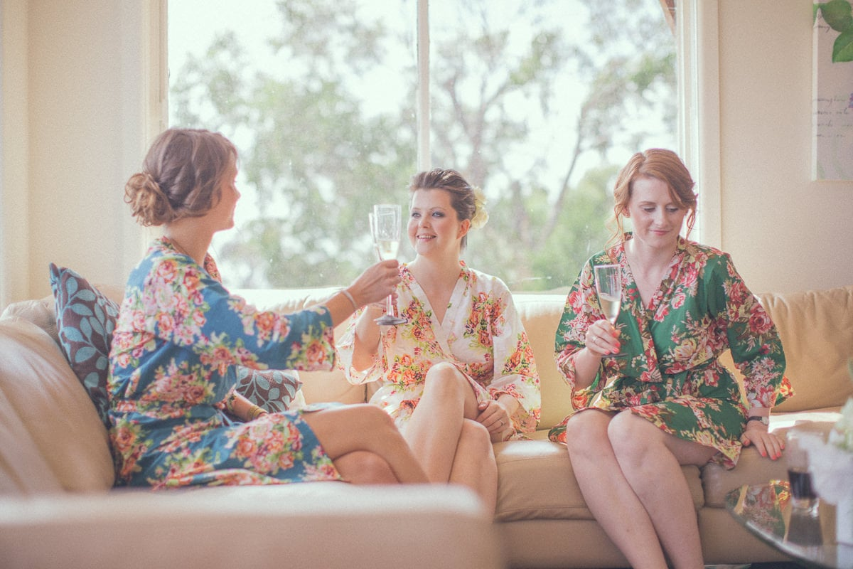 bridal team having fun - getting ready for the bears wedding - vintage style photographer melbourne