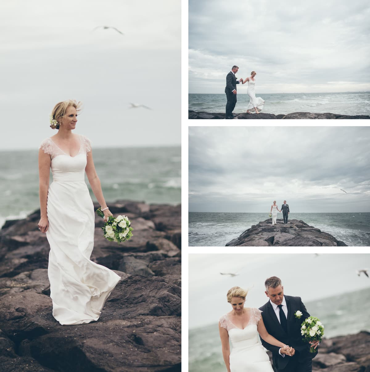 ocean wedding in melbourne - on the rocks