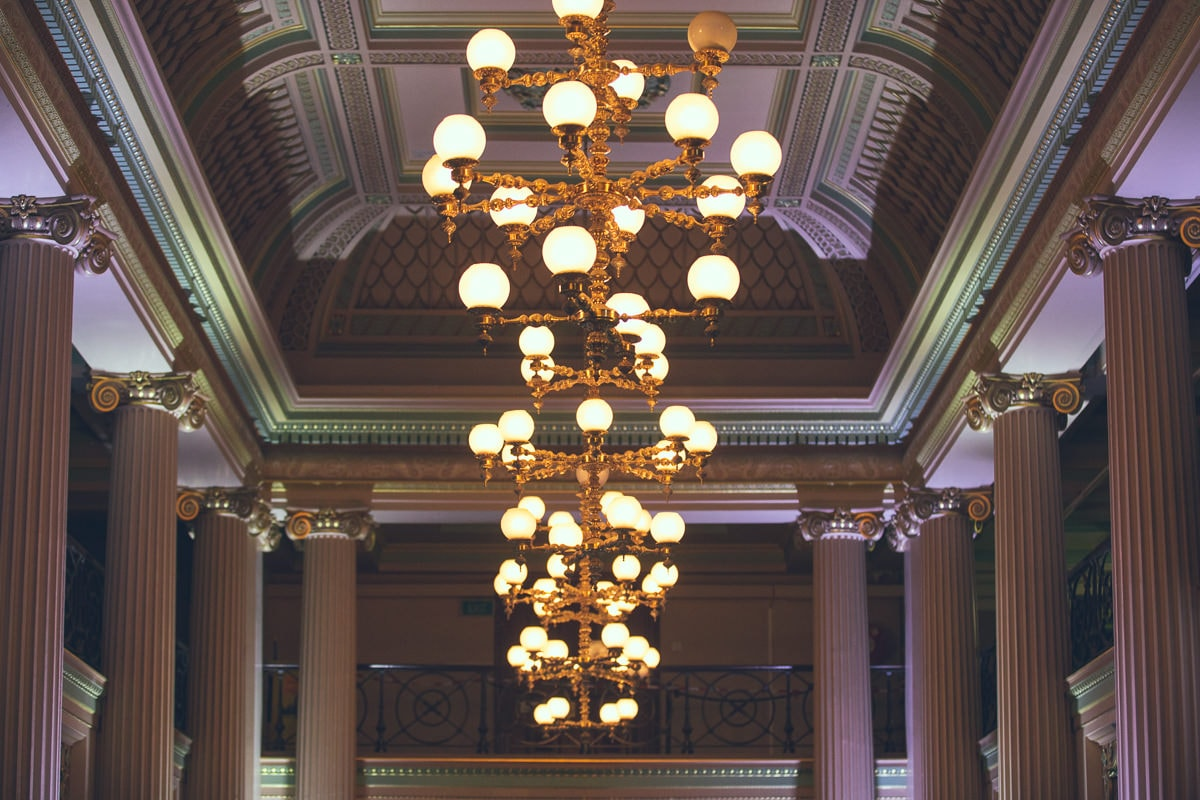 state library - chandeliers in the big hall
