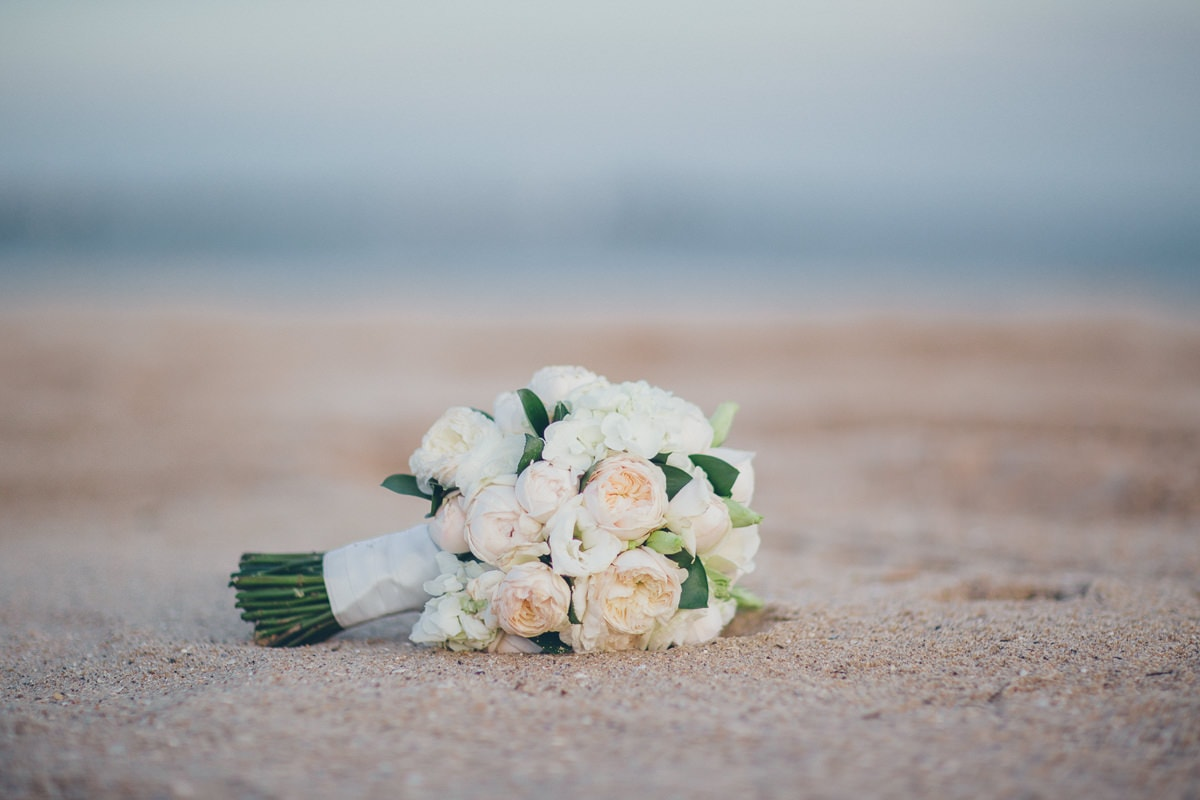 bouquet on the beach in saint kilda