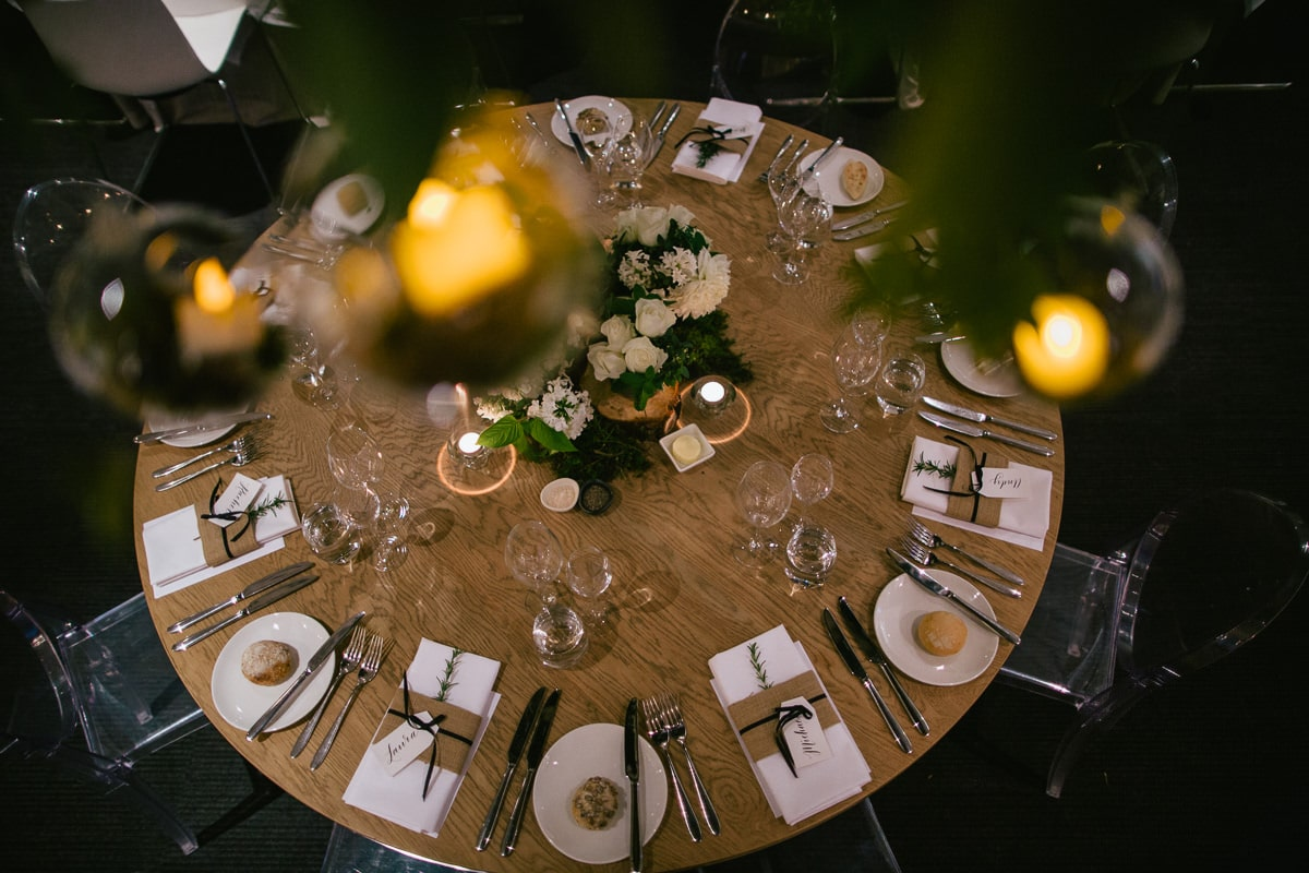 table setting at encore st kilda - encore wedding photographer