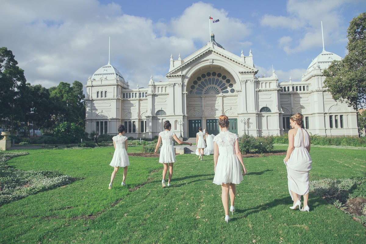 walking towards carlton exhibition building - bridesmaids