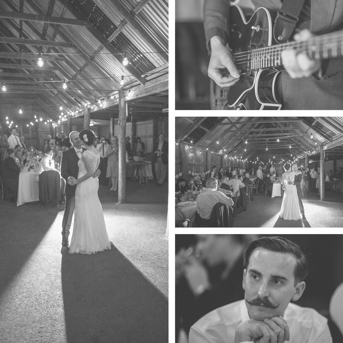 dance in a barn - fairly light wedding photography