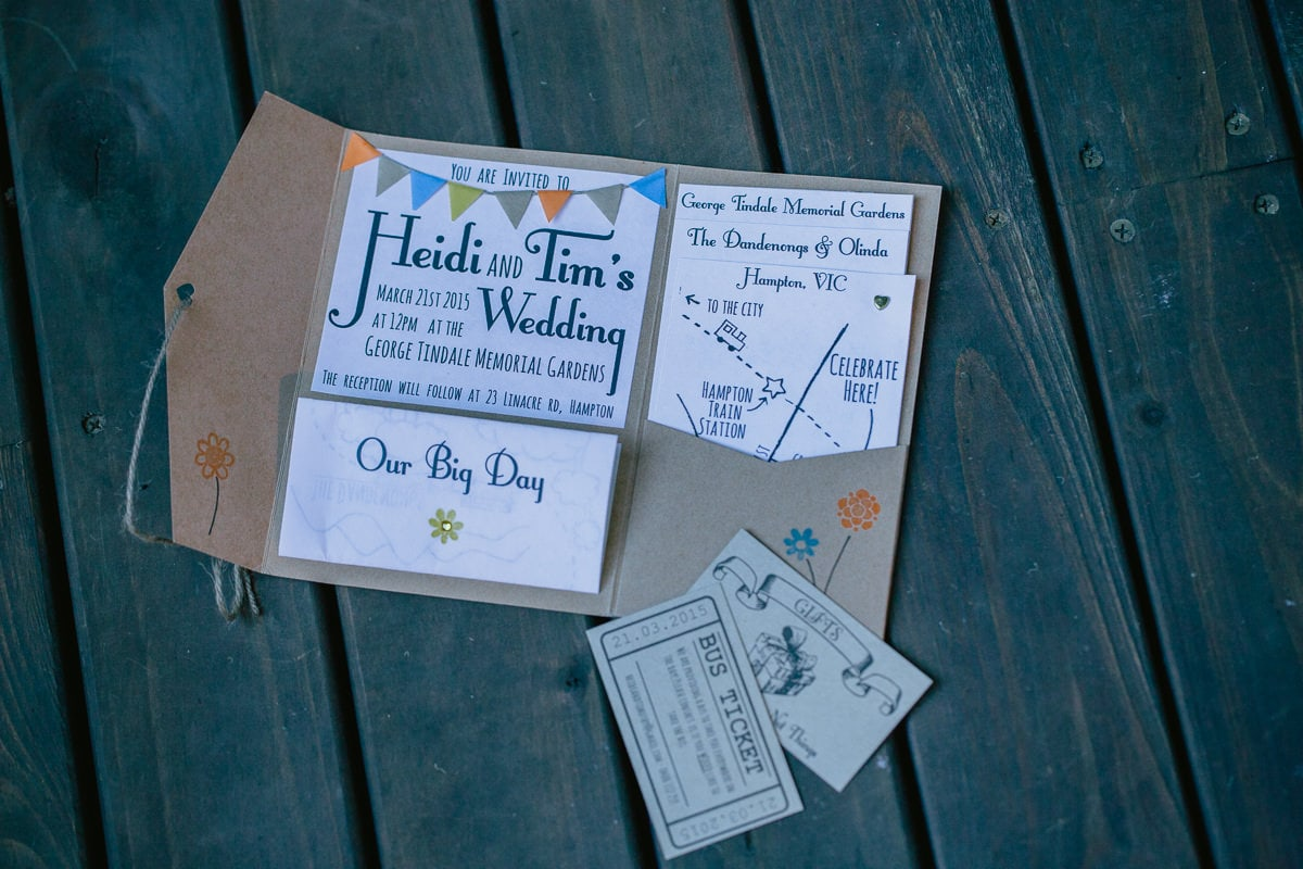handmade wedding invite to forest wedding in melbourne