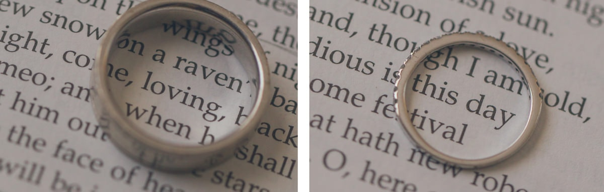 photo ideas for wedding rings - in a book