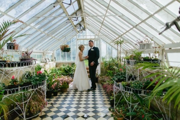 unique wedding photography location in Melbourne - glasshouse at werribee mansion