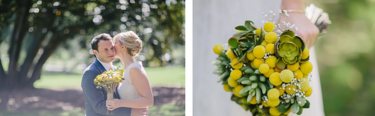 happy wedding - yellow bouquet