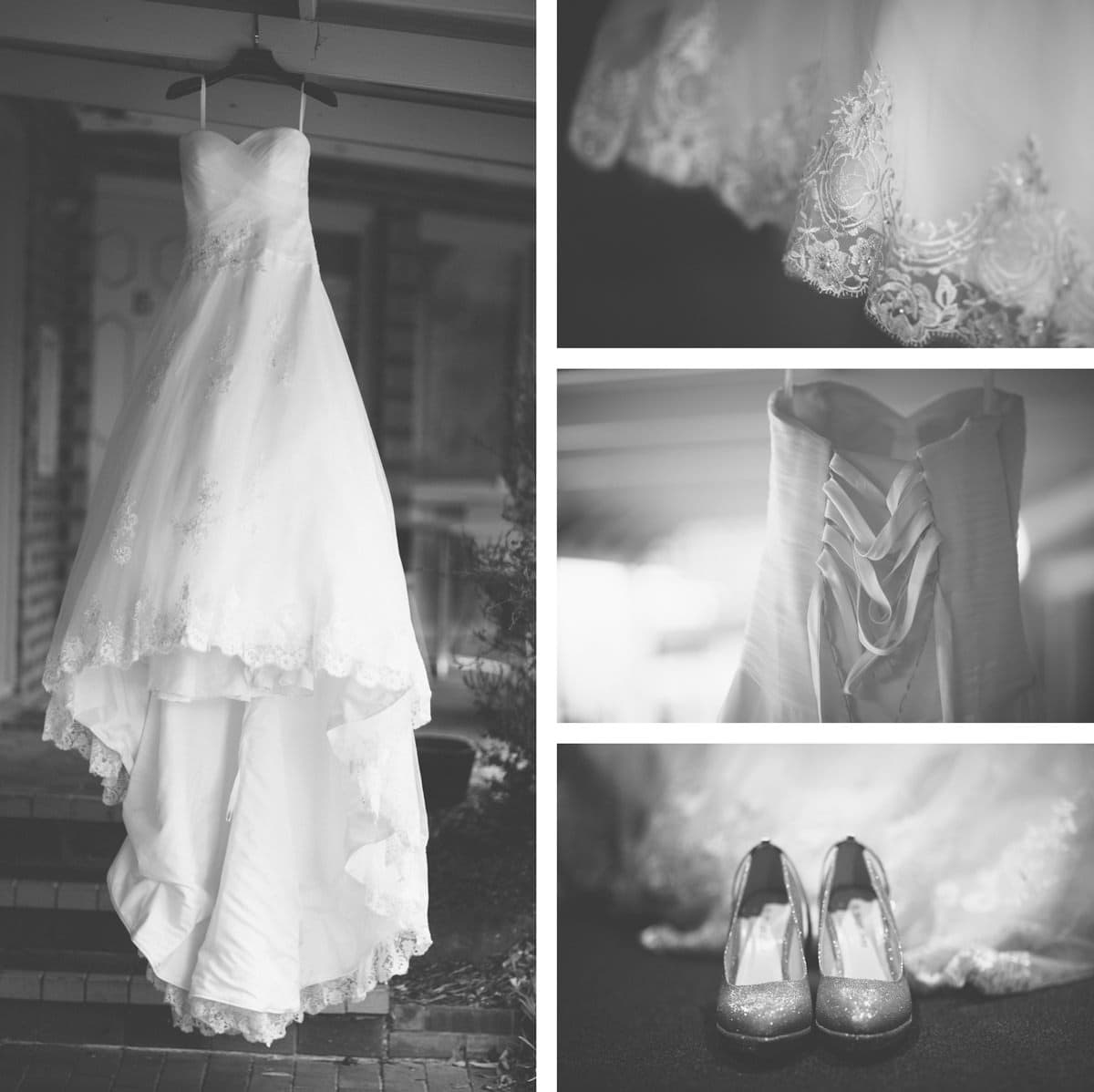 elegant wedding dress photographed in black and white