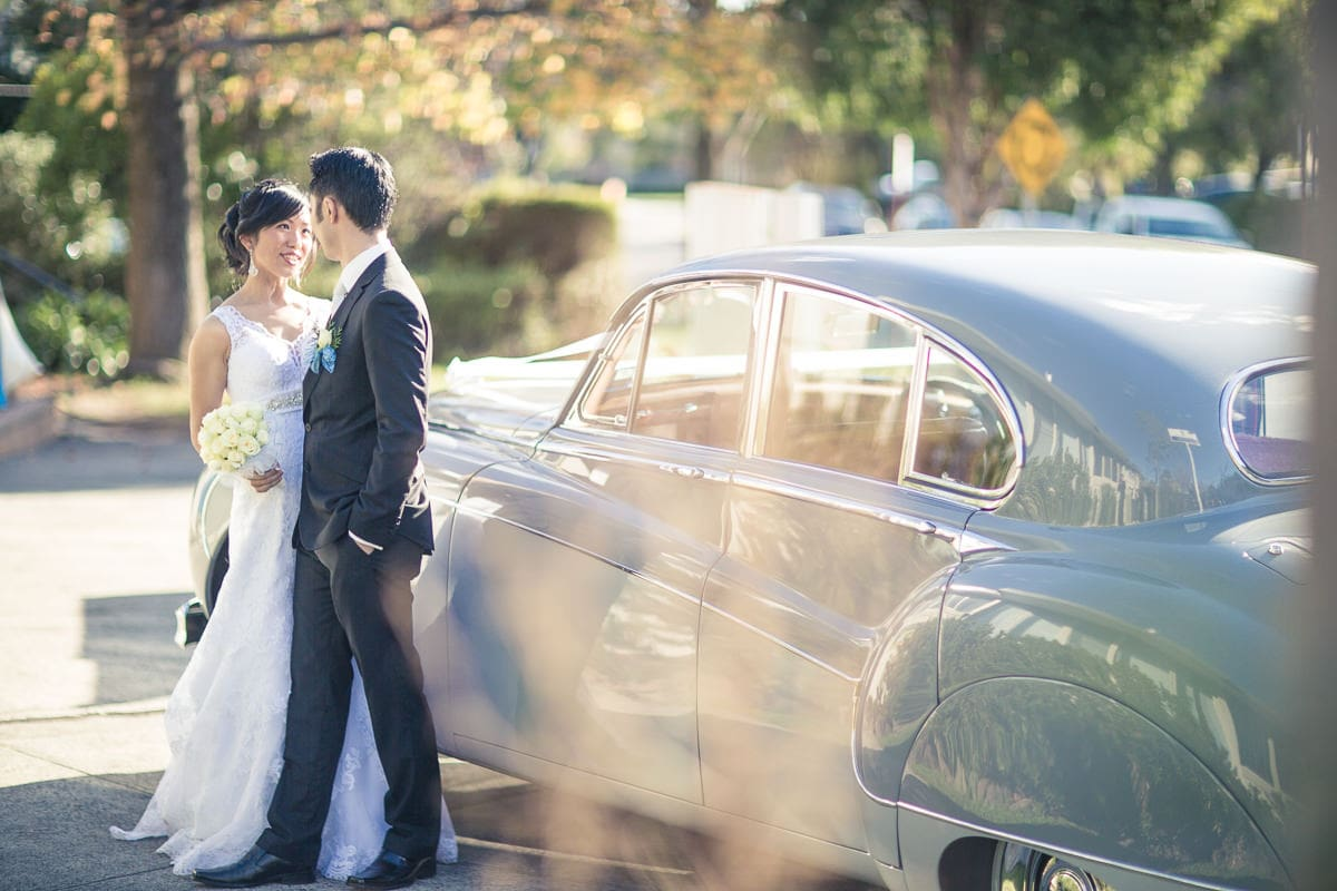 vintage car at luxury melbourne wedding