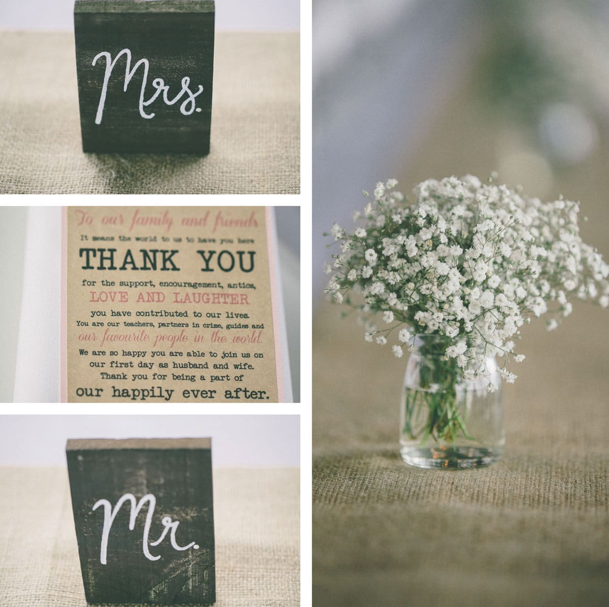 Mr and mrs signs - rustic wedding decorations in the yarra valley