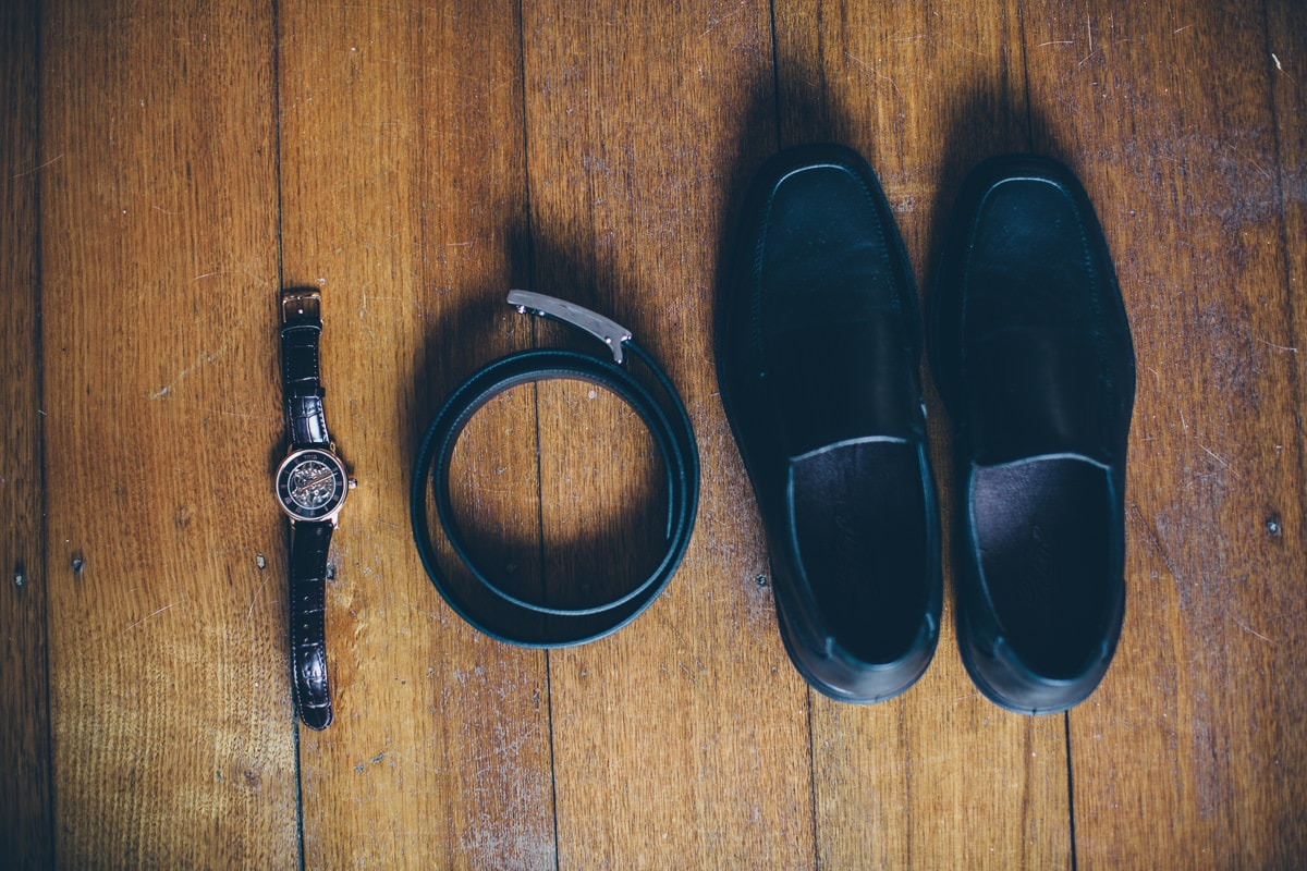 elegant wedding photography - details - shoes - belt - watch