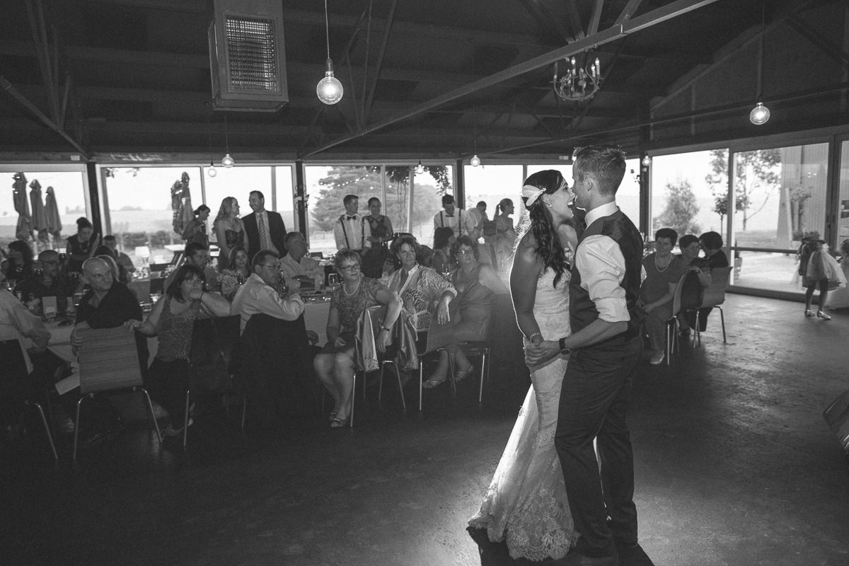yarra valley vineyard wedding - first dance - black and white