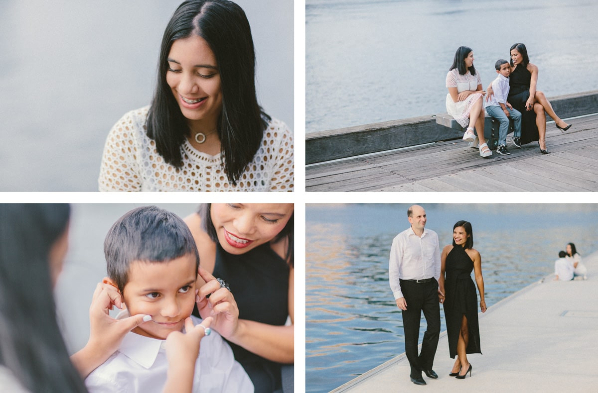 candid family photoshoot - black and white styling