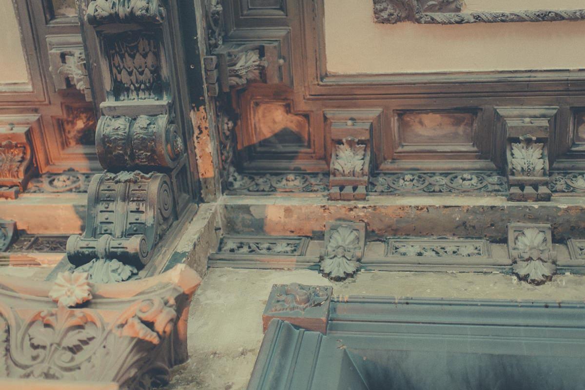 rustic handprinted ceiling at george ballroom st kilda