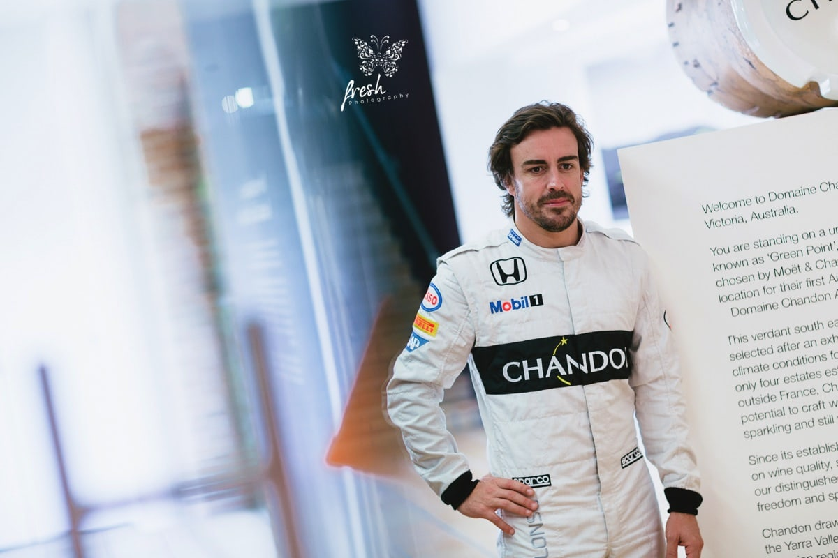 Fernando Alsonso - Portrait Photo of the F1 driver before Melbourne Grand Prix in 2016 at Domaine Chandon